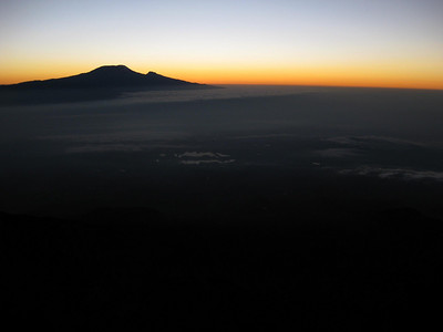 Mt. Kilimanjaro as seen from Mt. Meru just prior to sunrise