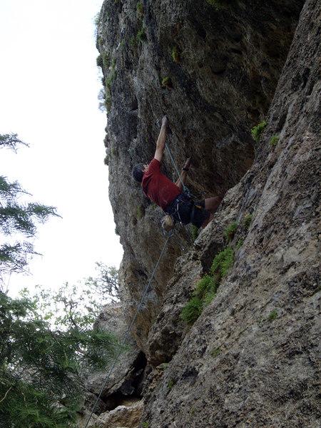 Jay on one of the steep 11b's -- seems he's having fun.