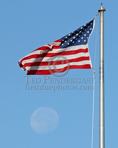 Flag And Setting Moon - Belmont,Mass. - August 11th,2006