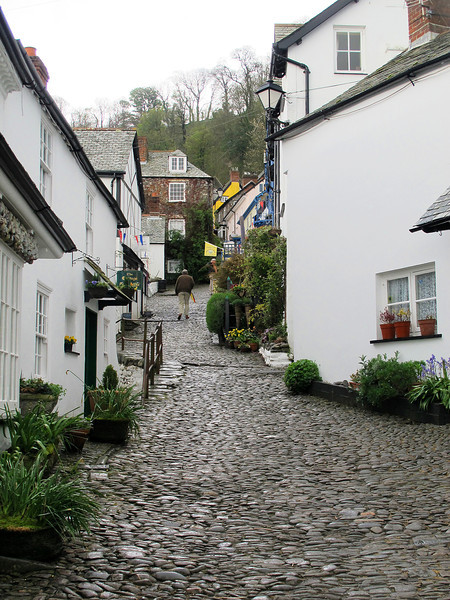 Looking up the main street at Clovelly in North Devon.