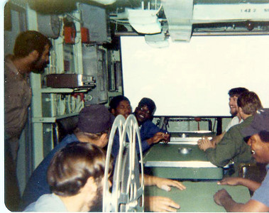 Movie time on the mess deck.