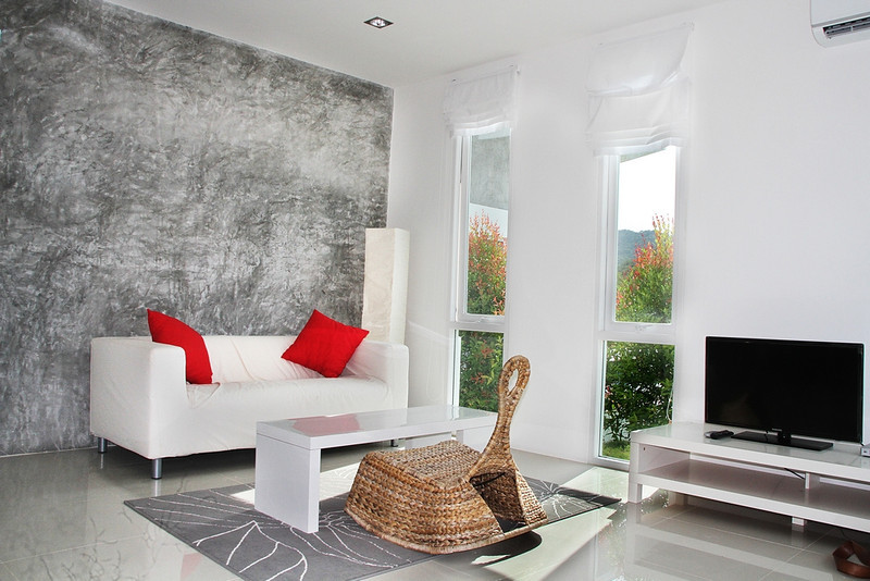 Lounge area in the one bedroom seaview villa Koh Lanta