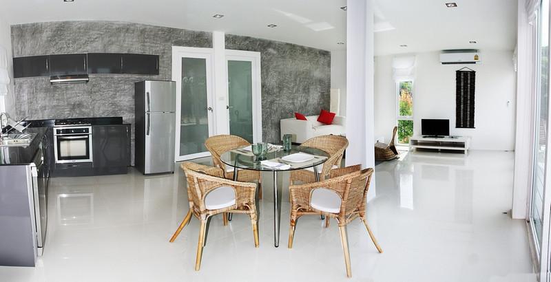 Interior living and kitchen area one bedroom seaview villa Koh Lanta