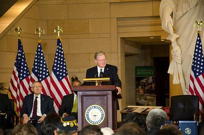 U.S. Senator James Inhofe, Oklahoma speaks at Gold Medal Ceremony