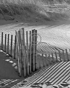 Black & White Buried Fence In The Dunes - Christmas Day 2005 - Cold Storage Beach - Dennis,Mass. - Cape Cod