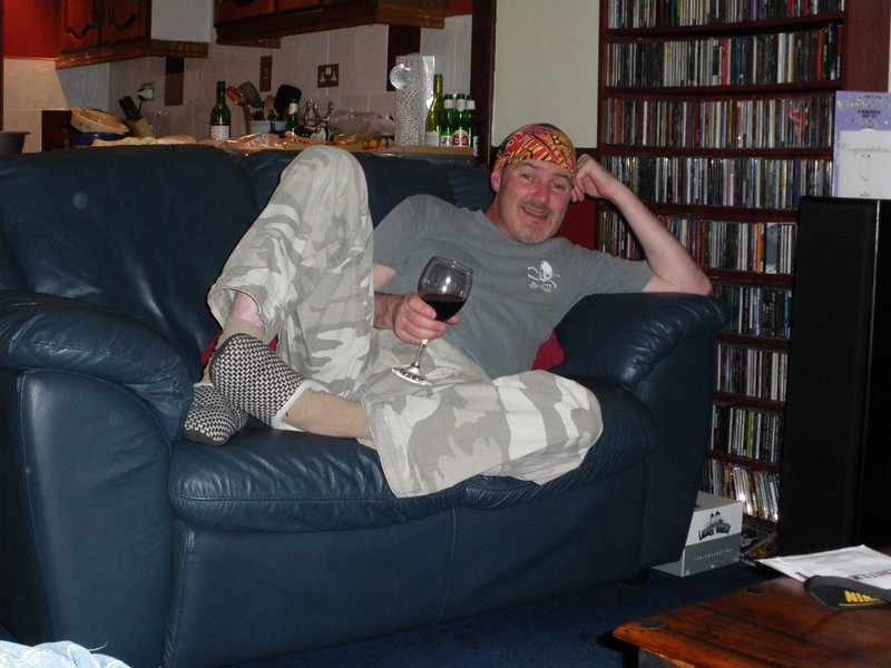Colin in 'special' pose the night before.....