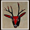 #105 (7) - Deer, handmade and worn in traditional dances during carnival with real animal horns - made in the village of Carpinteros in Hidalgo.  Carpinteros means woodpecker - purchased from Casa de la Cuesta in San Miguel de Allende 12/25/2002