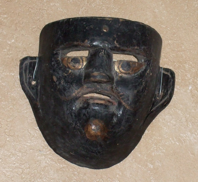 #988 (5) - Moor mask from Cuetzalen, Puebla made  earlier but danced in about 1995 - purchased 12/25/2006 from Bill Levaseur in San Miguel de Allende