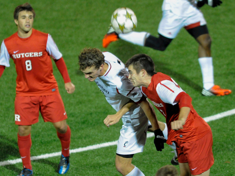 Cincinnati Bearcats (F) Cole DeNormandle #23 with a header during the game.  Cincinnati Bearcats defeat Rutgers Scarlet Knights (1-0) at Gettler Stadium in Cincinnati, Ohio.