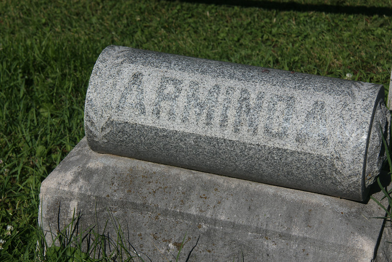 Grave Pillow for Arminda Morriss, located immediately adjacent to the Morriss Tombstone.