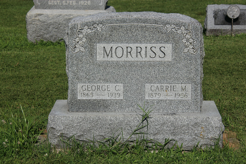 Tombstone for George & Carrie Morriss, my Great Grandparents.