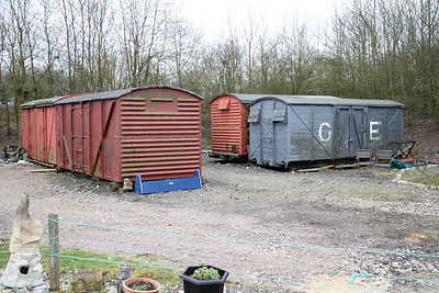 Grounded Vans 755663, 783494, 612666, 88xxxx Colne Valley Railway 31/03/12