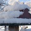 Barn Birdhouse with Snow