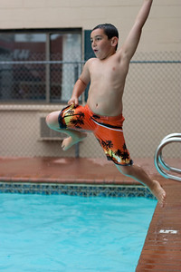 The day began with swimming at the hotel pool in Boulder. That meant some trick jumping...