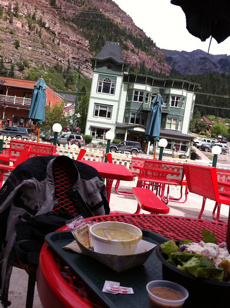Lunch in Ouray. Unfortunately, it started raining just as I got on the Million Dollar Highway so I had to put my camera away.