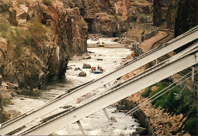 Rafters on the Arkansas River below the Royal Gorge Bridge