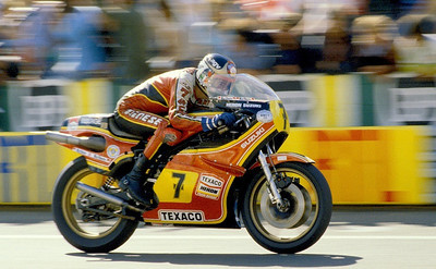 Barry Sheene, the late Grand Prix rider on his factory Heron Suzuki 500 at the French G.P. at Le Mans, France,1979