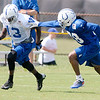 Don Knight/The Herald Bulletin<br /> Cornerback Greg Toler covers wide receiver T.Y. Hilton during Colts Camp on Tuesday.