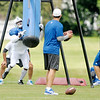 Don Knight/The Herald Bulletin<br /> Inside line backer Jerrell Freeman runs through a drill during Colts Camp on Wednesday.