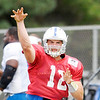 Don Knight/The Herald Bulletin<br /> Quarterback Andrew Luck passes the ball during drills at Colts Camp on Thursday.
