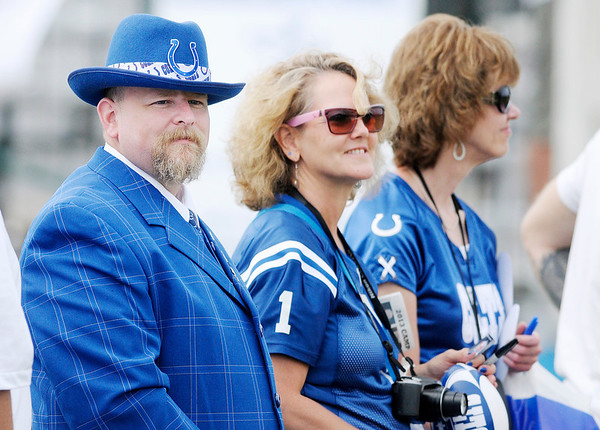 Don Knight/The Herald Bulletin<br /> This fan turned out in his football Sunday best for the Colts practice during Colts Camp on Thursday.