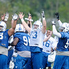 Don Knight/The Herald Bulletin<br /> The Colts celebrate after Adam Vinatieri kicked a 51-yard field goal to end practice early at Colts camp on Friday.