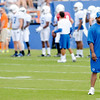 Mewelde Moore watches his fellow running backs run through drills during the Colts practice at AU on Tuesday.