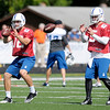 Andrew Luck (12) and Drew Stanton (5) take snaps as they run through drills as the Colts finished up camp at Anderson University on Friday.