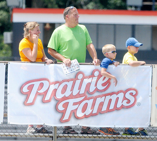 Don Knight/The Herald Bulletin<br /> This family of Colts fans found a high perch at the top of the Macholtz Stadium visitor's bleacher to watch the Colts practice at Anderson University on Thursday.