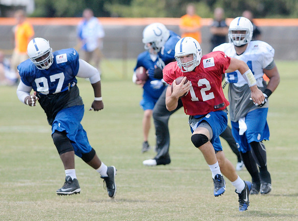 Don Knight/The Herald Bulletin<br /> Not finding an open receiver Colts quaterback Andrew Luck sprints towards the end zone during practice at Anderson University on Thursday.