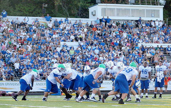 An estimated crowd of 5,000 watch the Colts practice at Macholtz Stadium during the first evening practice at Colts camp on Tuesday.