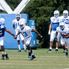 Fili Moala (95) and Dwayne Allen (83) block for T.Y. Hilton during a kick return at Colts camp on Thursday.