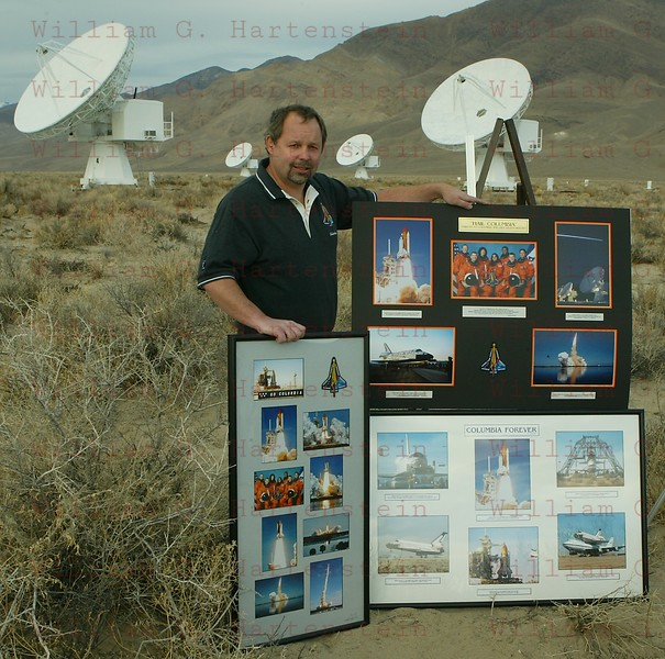 1-31-04...Shuttle Disaster one year later...Photo of aerospace photographer William Hartenstein, who was the other photographer along with Gene Blevins photographer with the LA Daily news, that got photos of the Space Shuttle Columbia coming over Owens Valley Radio Observatory minutes before breaking up over Texas. Photo of William who revisited the sight on the one year anniversary and for the last 10 months as put together a collage of photos that he as taken of Columbia from the day it rolled out from Rockwell in Palmdale to the day of the launch of Columbia in Florida to the last minutes of the last flight coming over CA.   <br /> Photo by Gene Blevins/LA Daily news
