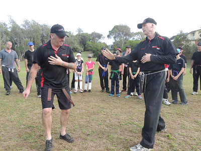 Chris & Shihan Martin Day 'after the strike!' Combat Karate Noosa. One Day self defence & combat karate training for all on the Sunshine Coast, Australia. Kyusho pressure points training.