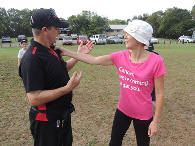 Joe Dawe 1st Dan with Jane Day (From England) Combat Karate Noosa. One Day self defence & combat karate training for all on the Sunshine Coast, Australia. Kyusho pressure points training.