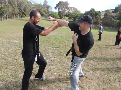 Luis & Andy 1st Dan Combat Karate Noosa. One Day self defence & combat karate training for all on the Sunshine Coast, Australia. Kyusho pressure points training.