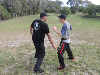 Paul Lanfear with Daniel Cooney Combat Karate Noosa. One Day self defence & combat karate training for all on the Sunshine Coast, Australia. Kyusho pressure points training.