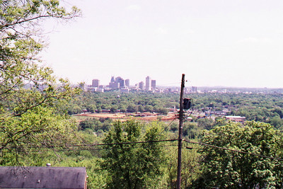 View of Nashville from atop a pole.
