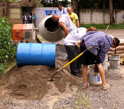 concrete mixing crew.