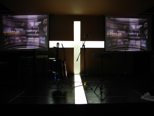 Our stage/pulpit before the worship band takes the stage.