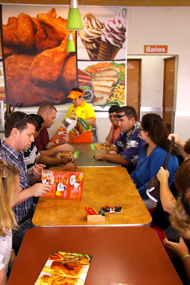 Pollo Campero for lunch with plans to go to Fundo Ninos.  But hail storm and torrential rain blocked the road.