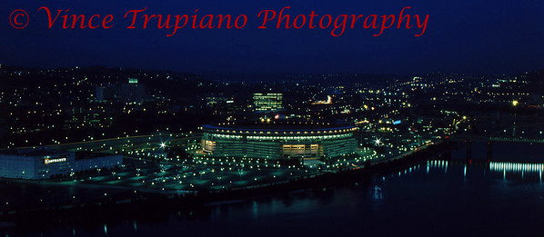 Dusk over Three Rivers Stadium in Pittsburgh, Pa - November 1983.