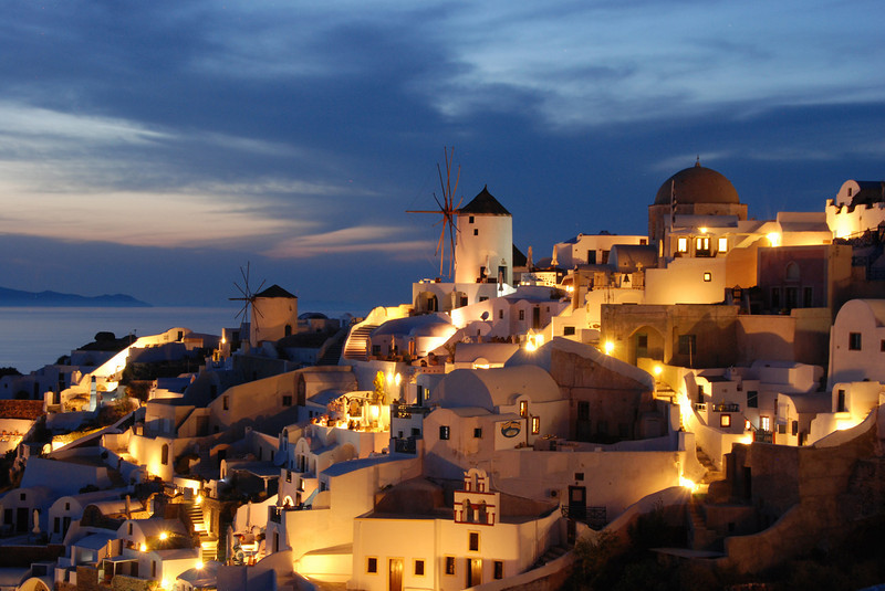 Oia at dusk, on the Greek island of Santorini. This photo made my company's 2011 calendar. It also won a blue ribbon at local photo club competition with 28 points (November 2010) It was accepted into the 2011 Greater Lynn International Exhibition with a score of 12 out of 15.