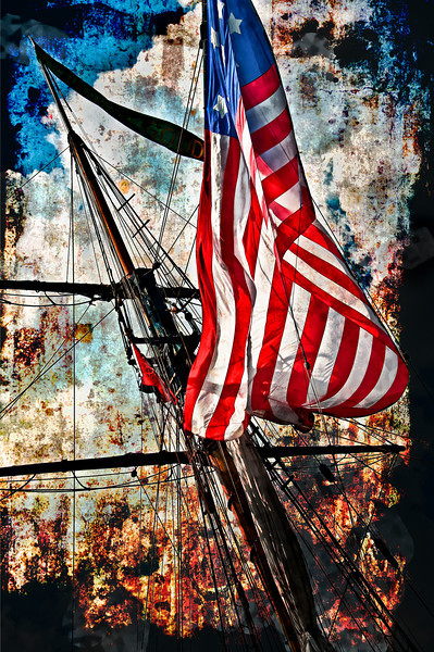 """An American flag flying on one of the """"tall ships"""" during the Chicago event, summer of 2010."""