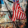 "An American flag flying on one of the ""tall ships"" during the Chicago event, summer of 2010."