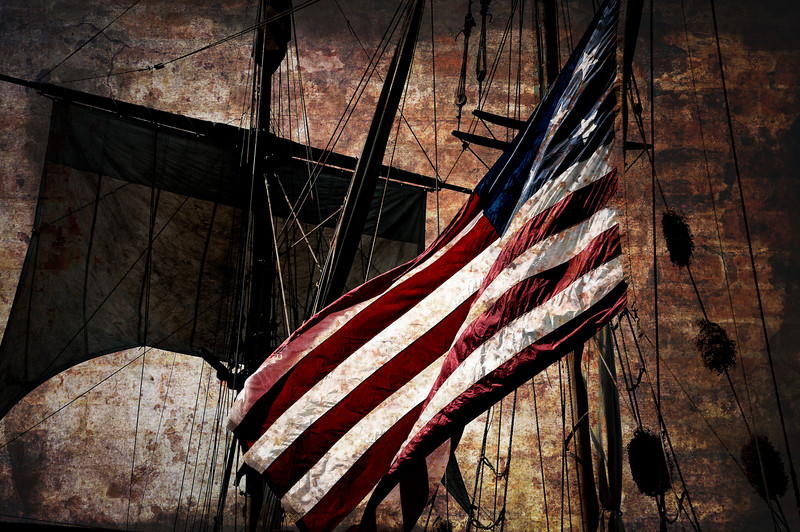 "America the beautiful, flying on a ""Tall Ship"" while docked at Navy Pier in Chicago during their recent tour."