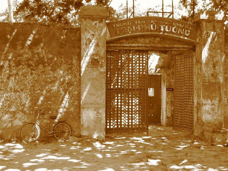 an entrance to a prison