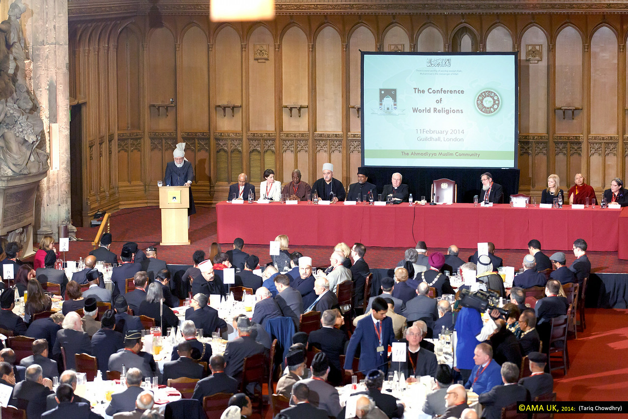 The World Head and Fifth Khalifa of the Ahmadiyya Muslim Community, Hazrat Mirza Masroor Ahmad, delivered the keynote address at the historic 'Conference of World Religions' on 11 February 2014.