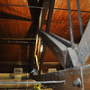 Williams (Old Gym). Trusses ready for strengthening work to begin.  Note the sway in the beam.  14-June 2012.