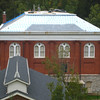 Initial work on the new slate roof of Williams Hall (Old Gym).